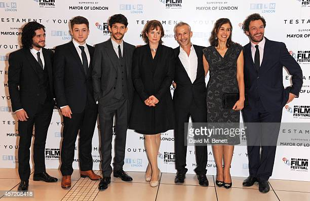 Kit Harington Taron Egerton Colin Morgan Emily Watson director James Kent writer Juliette Towhidi and Dominic West attend a screening of 'Testament...