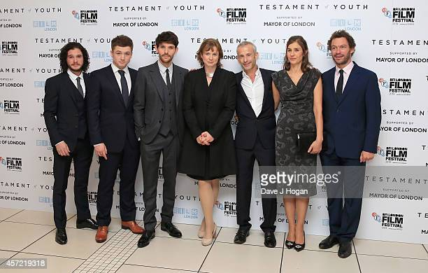 Kit Harington Taron Egerton Colin Morgan Emily Watson director James Kent writer Juliette Towhidi and actor Dominic West attend the VIP arrivals of...