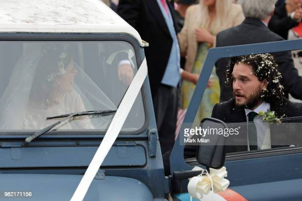 Kit Harrington and Rose Leslie departing Rayne Church in Kirkton on Rayne after their wedding on June 23 2018 in Aberdeen Scotland