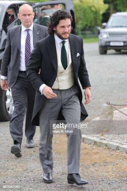 Kit Harrington arriving at Rayne Church in Kirkton on Rayne for the wedding of Kit Harrington and Rose Leslie on June 23 2018 in Aberdeen Scotland