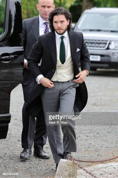 Kit Harrington arriving at Rayne Church in Kirkton on Rayne for the wedding of Kit Harrington and Rose Leslie on June 23 2018 in Aberdeen Scotland