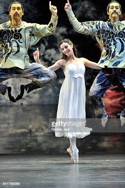 Kit Holden and Nathanael Skelton with Laetitia Lo Sardo in the Chinese Dance section of Birmingham Royal Ballet's production of Peter Wright Lev...