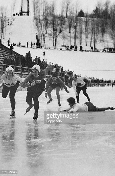 Kit Klein of the USA wins the 1500 metres speedskating event at the winter Olympic Games at Lake Placid New York USA February 1932 Jean Wilson of...