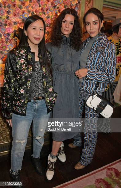 Kit Lee Hedvig Opshaug and Tamara Kalinic attend the Kurt Geiger and Susie Bubble celebration for the new 'Characterful Style' campaign at Annabel's...