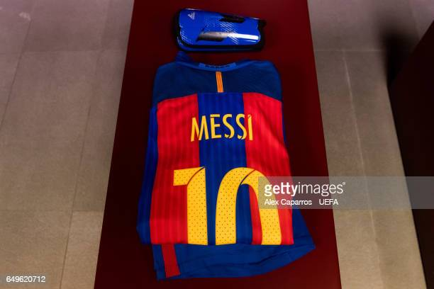 Kit of Lionel Messi is seen in the dressing room of FC Barcelona ahead of the UEFA Champions League Round of 16 second leg match between FC Barcelona...