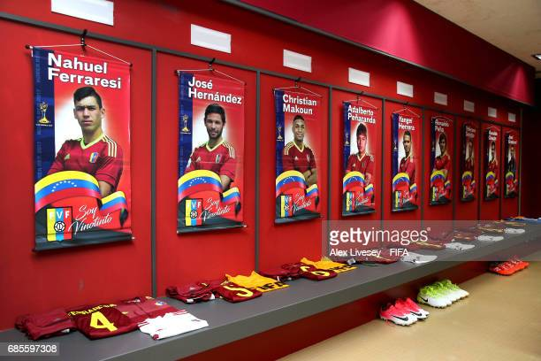 Kit of the Venezuela team is seen in their dressing room prior to the FIFA U20 World Cup Korea Republic 2017 group B match between Venezuela and...