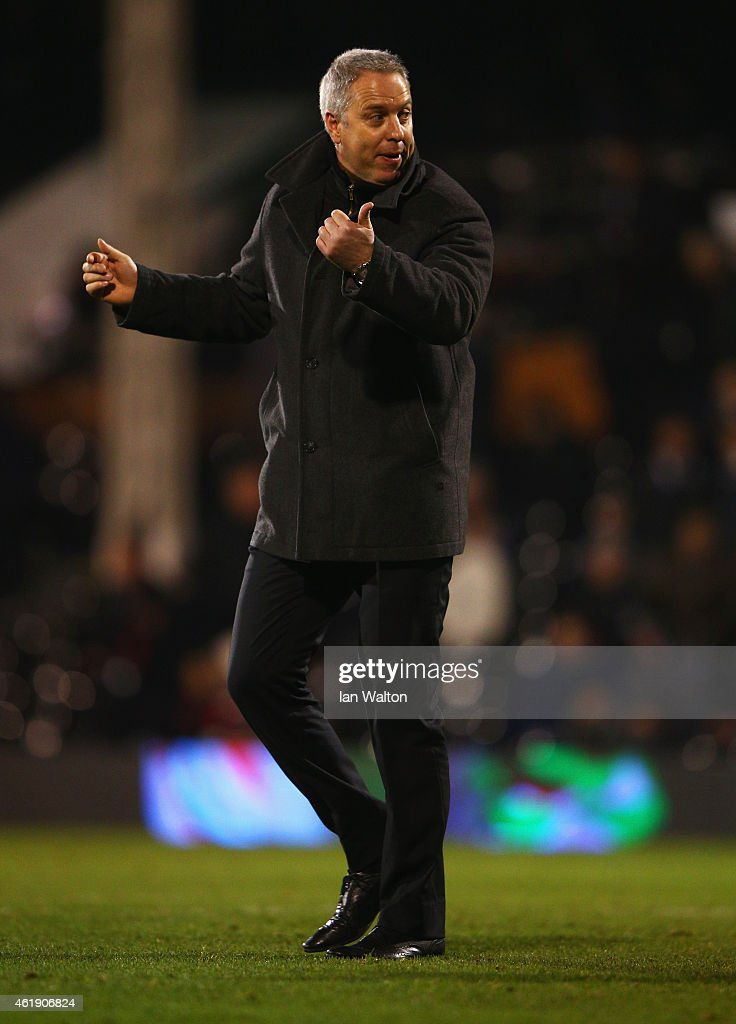 Kit Symons manager of Fulham gestures during the Sky Bet Championship match between Fulham and Nottingham Forest at Craven Cottage on January 21, 2015 in London, England.