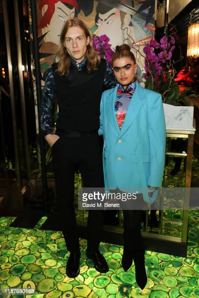 Kit Warrington and Sophia Hadijipanteli attend The Ivy Asia, St. Paul's Launch Party on November 14, 2019 in London, England.