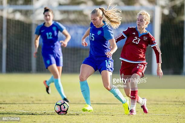 Kita Van Es Elena Morozova during the preseason friendly match between national women's Russia vs The Netherlands in Pinatar Arena San Pedro del...