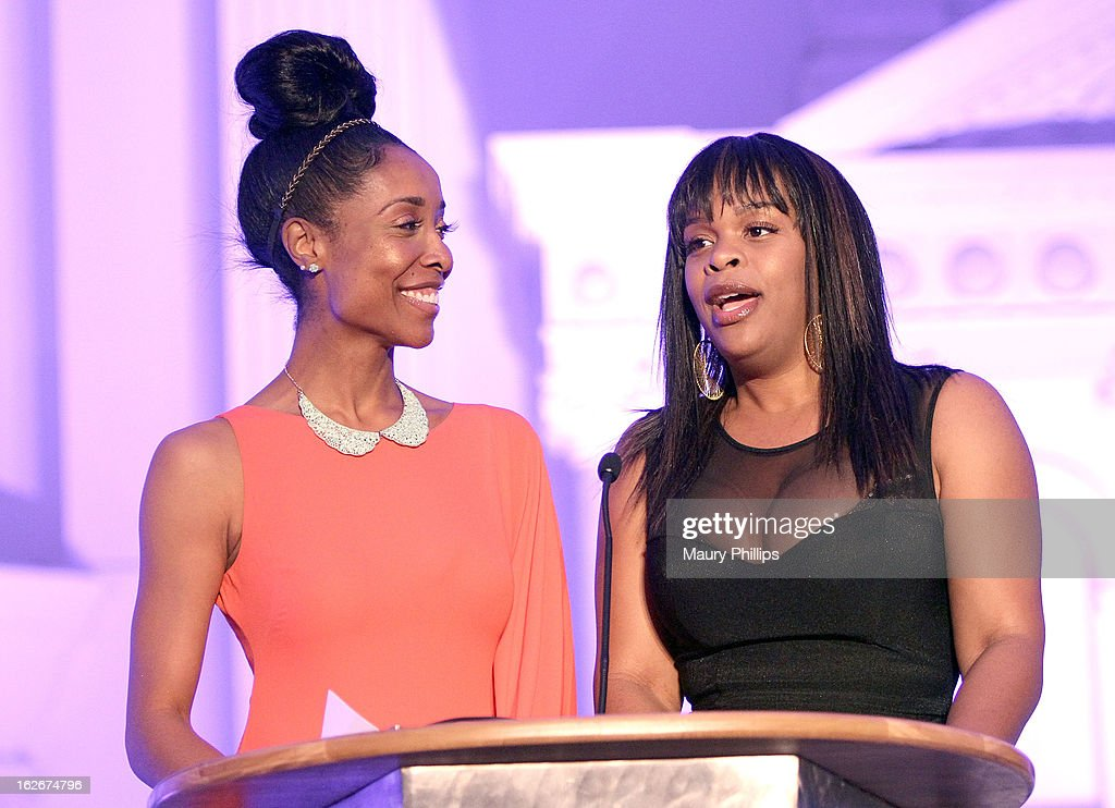 Kita Willams and Monique Jackson onstage during the Executive Preparatory Academy of Finance's 'Reason To Believe' Inaugural charity fundraising gala at Vibiana on February 20, 2013 in Los Angeles, California.