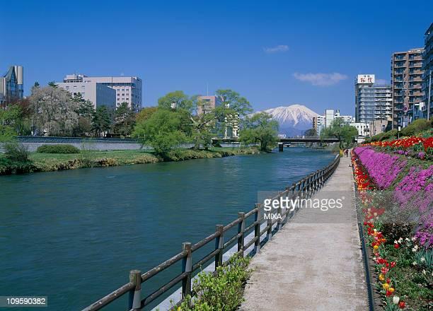 kitakami river, morioka, iwate, japan - 盛岡市 ストックフォトと画像