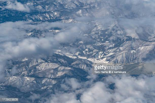 Kitakata city in Fukushima prefecture in Japan daytime aerial view from airplane