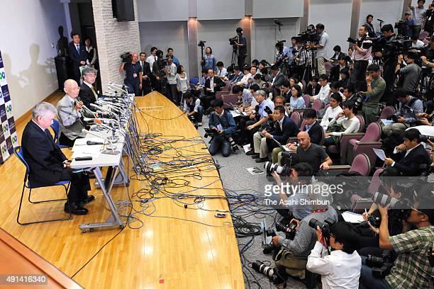 Kitasato University Professor Emeritus Satoshi Omura speaks during a press conference after he is awarded the Nobel Prize in Medicine at Kitasato...