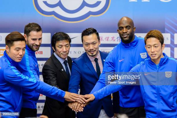 Kitchee FC Head Coach Alex Chu and Wilson Ng Kitchee General Manager introduces his new soccer players Ju Yingzhi Josip Tadic Mohamed Sissoko and...