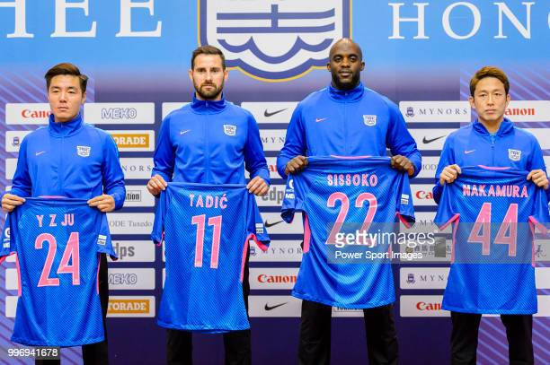 Kitchee FC introduces his new soccer players Ju Yingzhi Josip Tadic Mohamed Sissoko and Yuto Nakamura during the press conference on July 12 2018 in...
