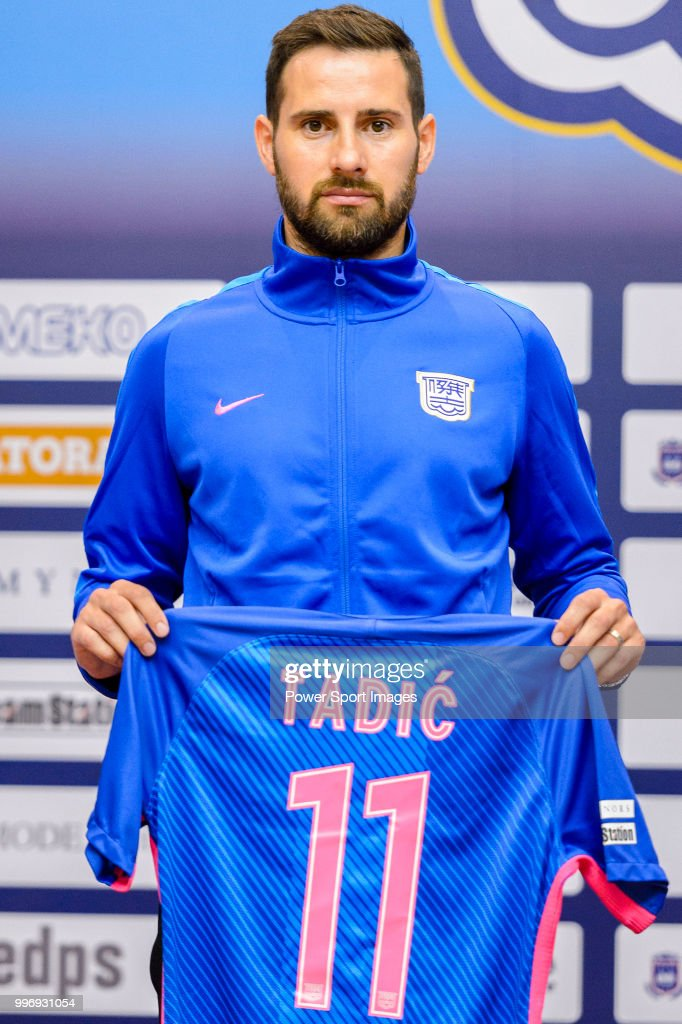 Kitchee FC soccer player Josip Tadic is introduced by Kitchee FC during the press conference on July 12, 2018 in Hong Kong.