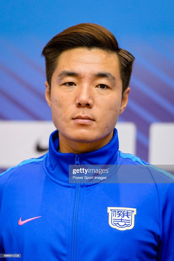 Kitchee FC soccer player Ju Ying-zhi is introduced by Kitchee FC during the press conference on July 12, 2018 in Hong Kong.