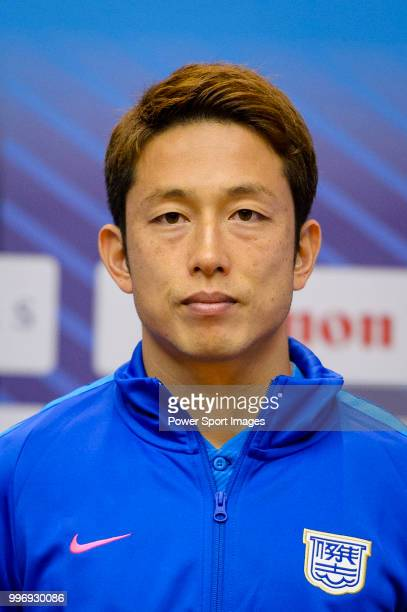Kitchee FC soccer player Yuto Nakamura is introduced by Kitchee FC during the press conference on July 12 2018 in Hong Kong