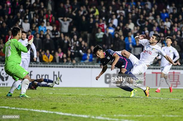 Kitchee Forward Kwok Keung Sham trips up with FC Hanoi Defender Alvaro Silva during the AFC Champions League 2017 Preliminary Stage match between...