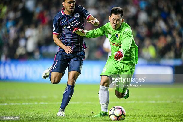 Kitchee Midfielder Fernando Augusto fights for the ball with FC Hanoi Goalkeeper Tran Anh Duc during the AFC Champions League 2017 Preliminary Stage...
