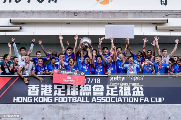 Kitchee SC celebrating with his trophy after the Hong Kong FA Cup final between Kitchee and Wofoo Tai Po at the Hong Kong Stadium on May 26, 2018 in...