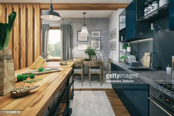 kitchen and dining area - cooking illustrations stock pictures, royalty-free photos & images