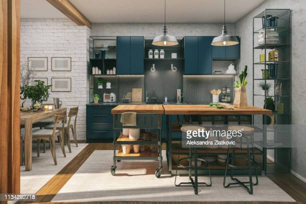 kitchen and dining room - home interior stock pictures, royalty-free photos & images