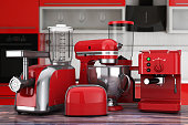 Kitchen Appliances Set. Red Blender, Toaster, Coffee Machine, Meat Ginder, Food Mixer and Coffee Grinder. 3d Rendering