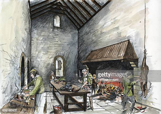 Kitchen block or 'keep' at Wolvesey Old Bishop's Palace c1160 Interior reconstruction drawing of tWolvesey Castle also known as the Old Bishop's...