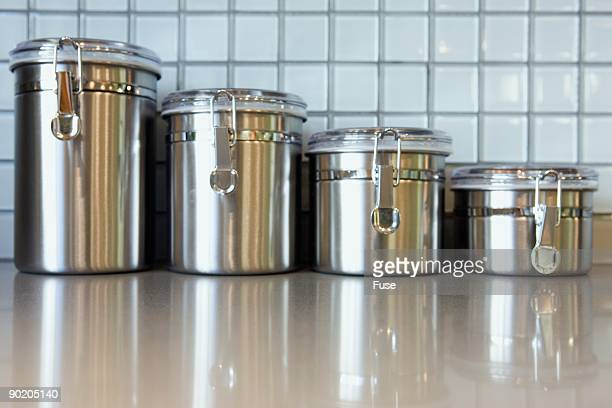 Kitchen Canisters in a Row