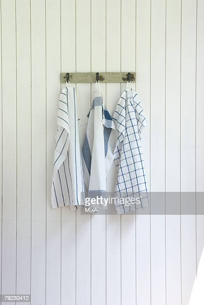 kitchen clothes hanging on wall - dish towel stock pictures, royalty-free photos & images