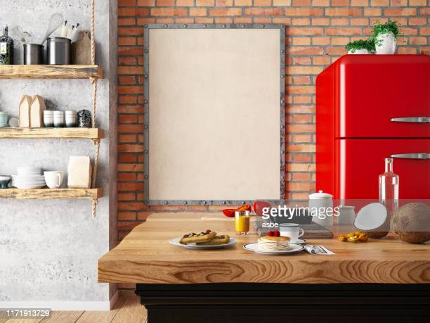 kitchen counter with foods and empty frame - vintage restaurant stock pictures, royalty-free photos & images