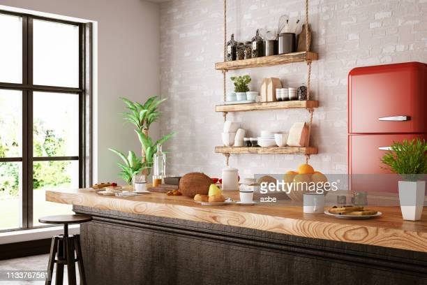 kitchen counter with foods - vintage restaurant stock pictures, royalty-free photos & images