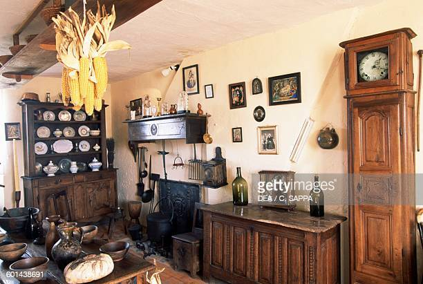 Kitchen cupboard and grandfather clock Castle of Champlitte now the Popular arts and traditions museum FrancheComte France 18th century