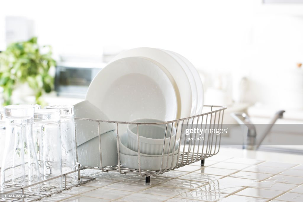 Kitchen drainer rack : Stock Photo