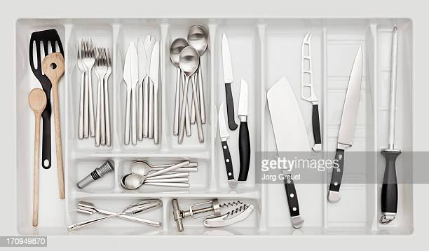 kitchen drawer - silverware stock pictures, royalty-free photos & images