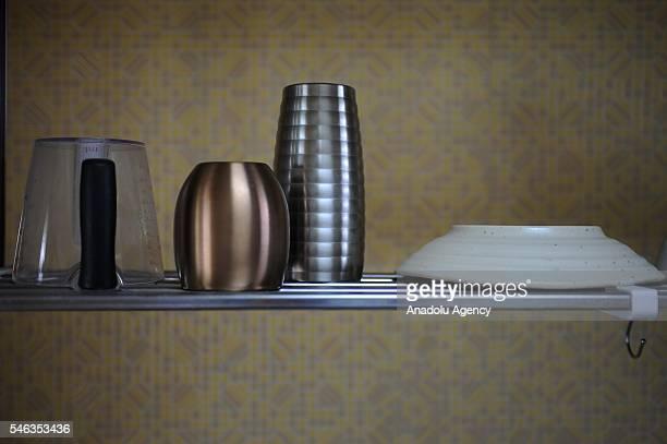 Kitchen equipment are hanging in the kitchen of minimalist Katsuya Toyoda in Tokyo Japan on July 02 2016 Katsuya Toyoda an online publication editor...