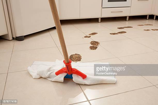 Kitchen floor cleaning.