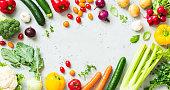 Kitchen - fresh colorful organic vegetables on worktop