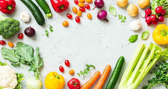 Kitchen - fresh colorful organic vegetables on worktop 1131005373
