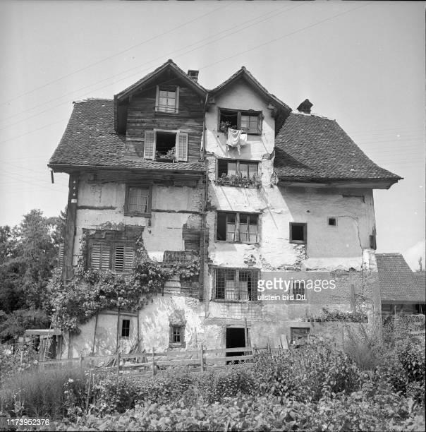 Kitchen garden in front of an old residential building in Schwyz 1952