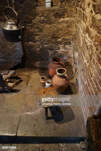 Kitchen hearth inside Anne Hathaway's Cottage where Anne Hathaway the wife of William Shakespeare lived as a child StratforduponAvon England The...
