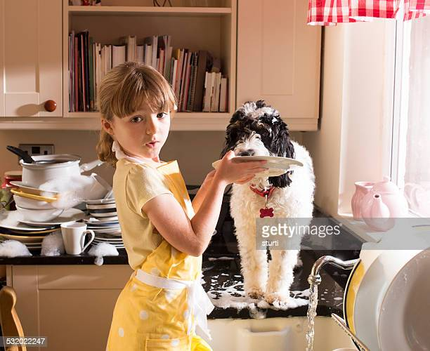 kitchen help - kids with cleaning rubber gloves stock pictures, royalty-free photos & images
