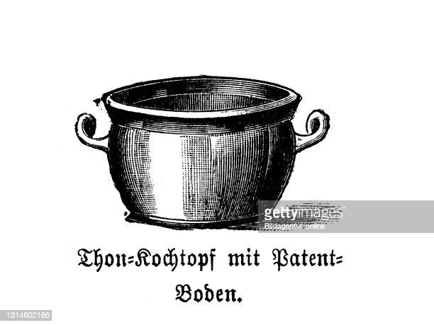 Kitchen implement, Clay pot with patent floor, historic kitchen appliances, Betty Gleim's cookbook, 1847 / Ton Kochtopf mit Patentboden, historische...
