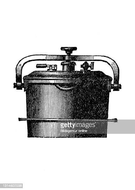 Kitchen implement, Closure Pressure Cooker, historical kitchen appliances, Betty Gleim's cookbook, 1847 / Verschluß-Dampfkochtopf, historische...
