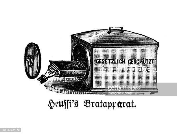 Kitchen implement, Heussi's Bratapparat, historical kitchen appliances, Betty Gleim's cookbook, 1847 / historische Küchengeräte, Betty Gleims...