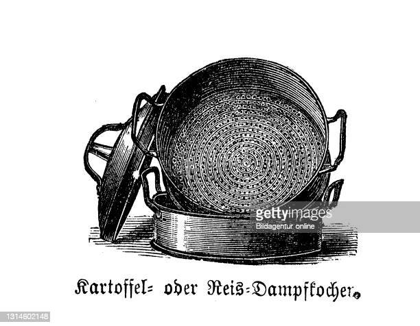 Kitchen implement, Potato steam cooker or rice steamer, Historic kitchen appliances, Betty Gleim's cookbook, 1847 / Kartoffeldampfkocher oder...