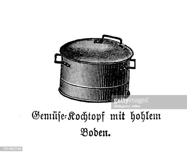 Kitchen implement, Vegetable cooking pot with a hollow floor, Betty Gleim's cookbook, 1847 / Gemüsekochtopf mit hohlem Boden, Betty Gleims Kochbuch...