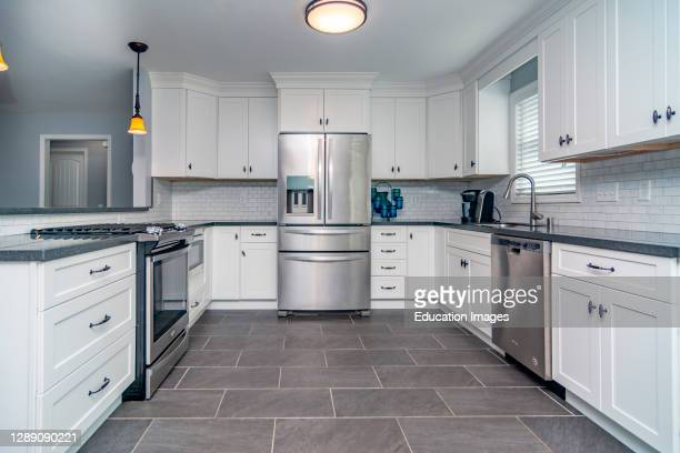 Kitchen in modern middle class house in Midwest America.
