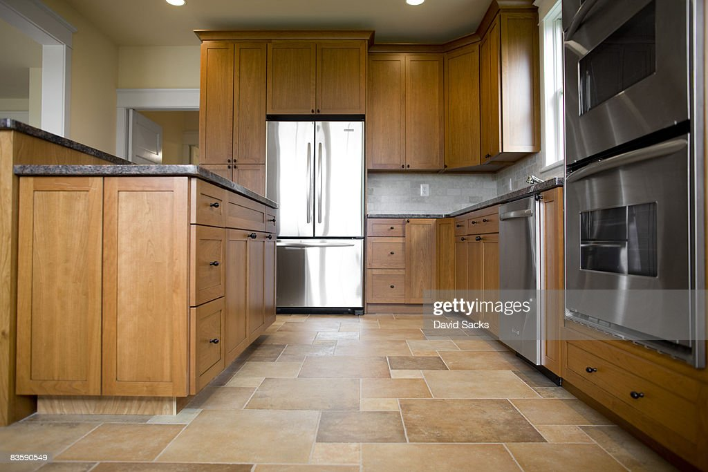 Kitchen in newly constructed house : Stock Photo